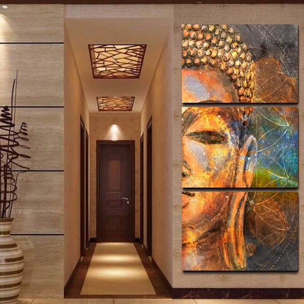 Peintures Sur Toile Mur Art Cadre HD Prints Images 3 Pièces Abstraite Or Bouddha Statue Affiche Home Decor Pour Le Salon