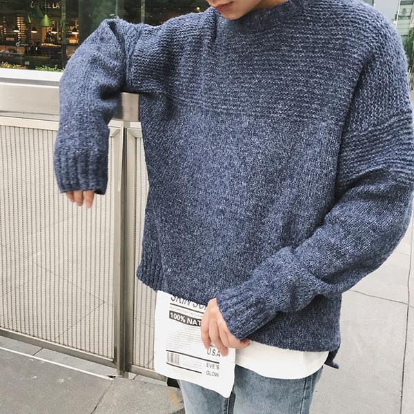 2018 Hiver Date D'hommes De Mode Simple Marée Style Coréen Laine à tricoter Vêtements Oversize Lâche Occasionnel Solide Couleur Chandails S-XL