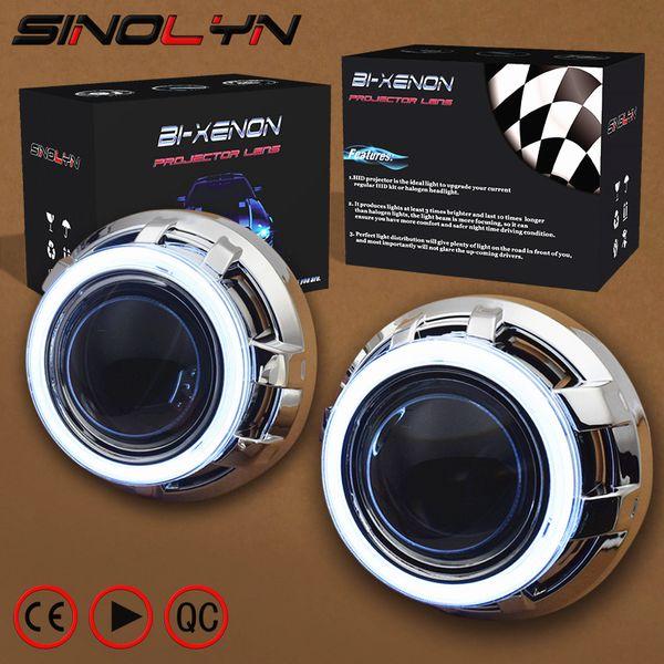 SINOLYN 3.0 Pro HID Bi xenon Lensler Far Araba Projektör Lens COB LED Melek Gözler Halo DRL Far Güçlendirme DIY Araba-styling