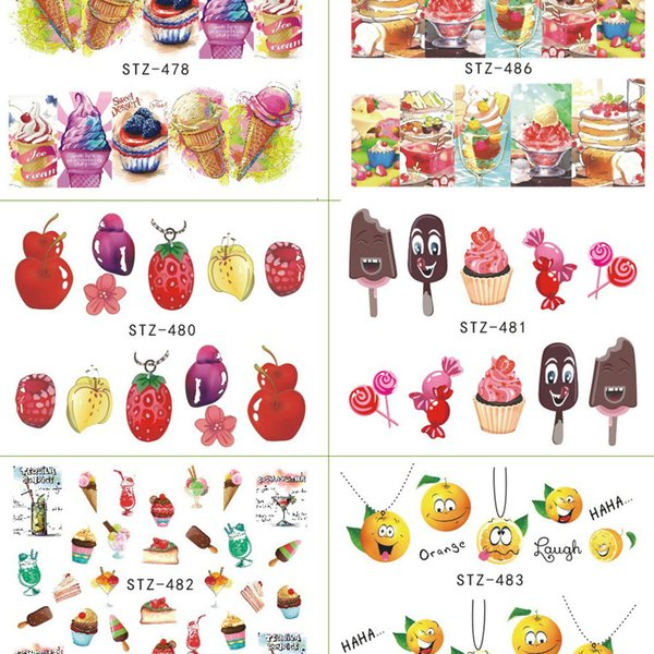 Hot Sale 18 Sheets/Set Cake Ice Cream Nail Sticker Colorful Fruit Women Girls Nail Decal Wrap Manicure Decor