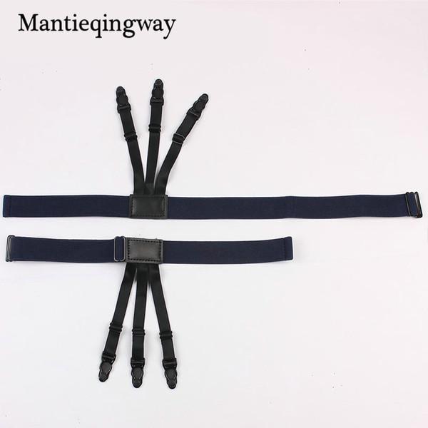 Mantieqingway High Quality 1 Pair Suspenders For Men Shirt Holders Leather Suspender Elastic Garter Belt Adjustable Braces