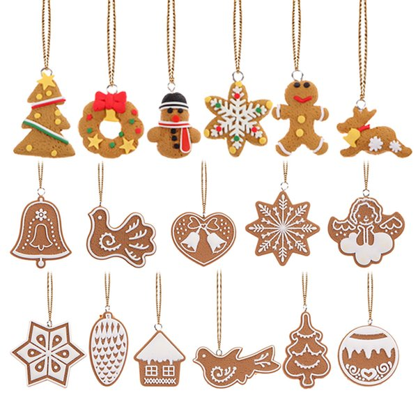 17Pcs Polymer Clay Deer Snowman Doll Chrismas Tree Decorations Pendant Navidad Ornaments New Year Christmas decorations for home Y18102609