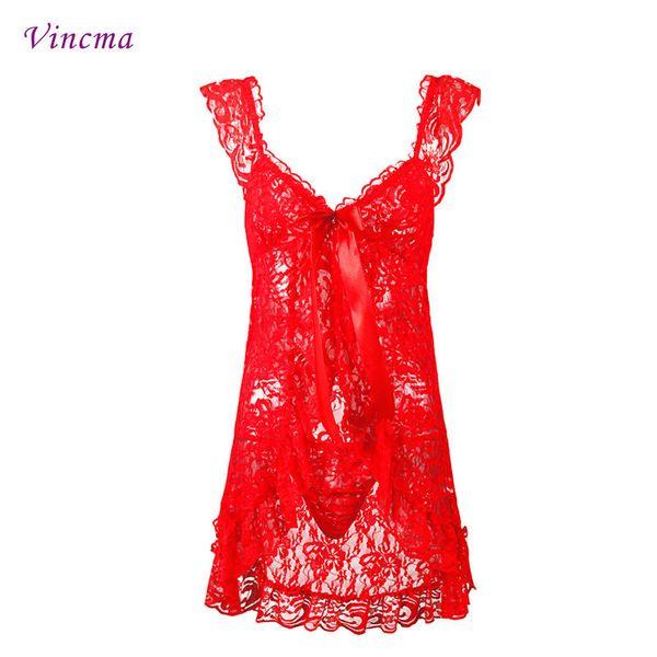 S M L 4XL 5XL 6XL Плюс Размер Женская вышивка Черное красное Пэчворк Эротическое нижнее белье Горячее сексуальное женское белье Babydolls Прозрачное платье D18110701