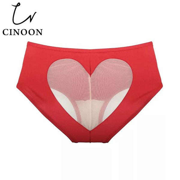 CINOON Sexy briefs Bikini Love Heart Cut Out Bottom Mid-rise panties solid color underpant for women Cotton Bottom Lingerie