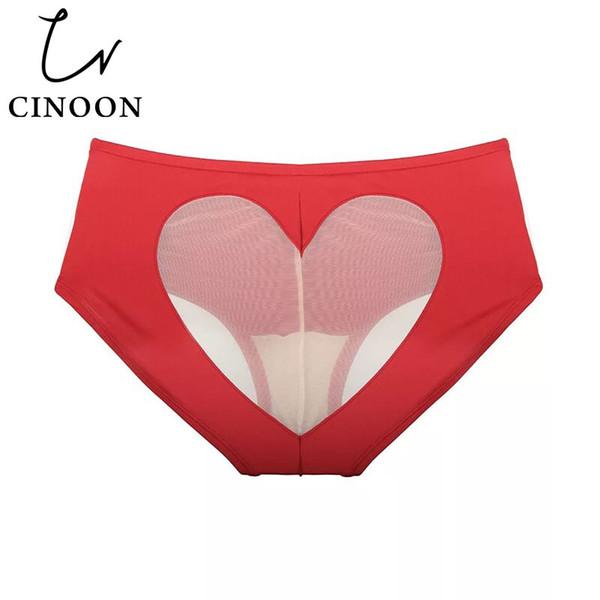 CINOON Seksi külot Bikini Aşk Kalp Cut Out Alt Orta-rise külot kadınlar için katı renk külot Pamuk Alt Iç Çamaşırı