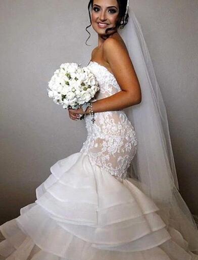 Stunning Sweetheart Mermaid Lace 2018 Wedding Dress Ruffles Layered