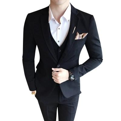Slim Fit Wedding Suits for Men Dress Terno Masculino Latest Design Tuxedo 3 Pieces Men Suits with Pants Black White 2018