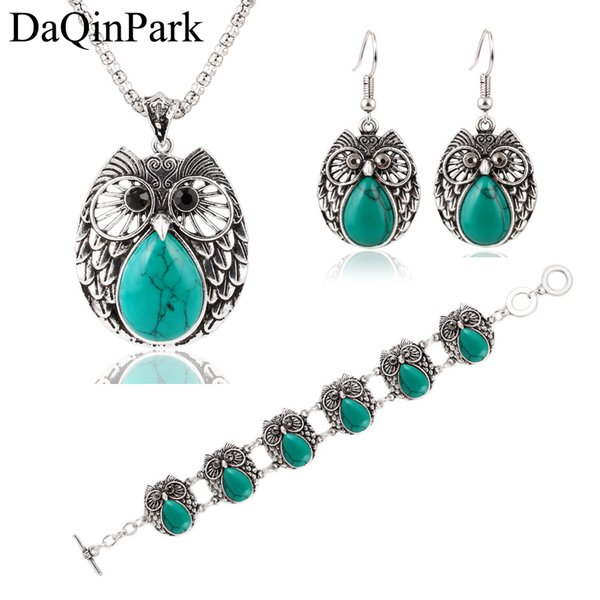 Fashion Summer Style Jewelry Sets Vintage Green & Red Stone Pendant Necklace Owl Drop Earrings Charm Bracelet for Women
