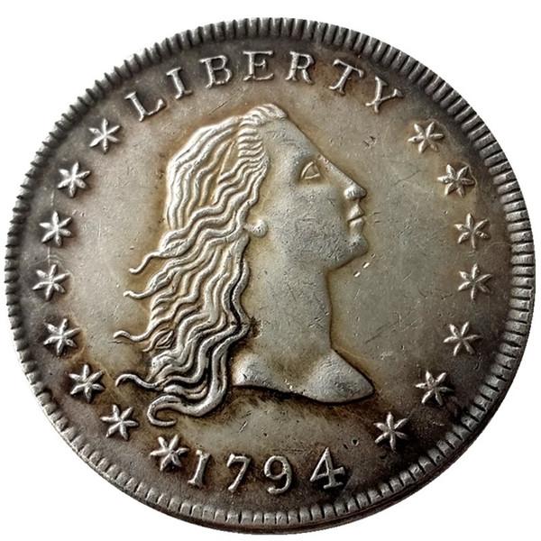 États-Unis Pièces de monnaie 1794 Couleurs De Cheveux Laiton Argent Plaqué Dollar Lisse bord Copie Pièce de monnaie réplique pièces décoration de la maison accessoires