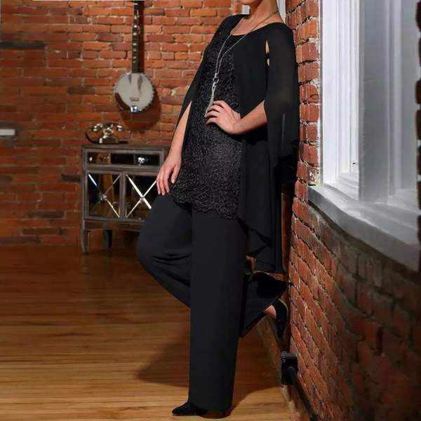 Designer Black Mother of the Groom Pants Suits With Cape Jewel Neck Top Lace Wedding Guest Outfits Plus Size Chiffon Females Prom Wear