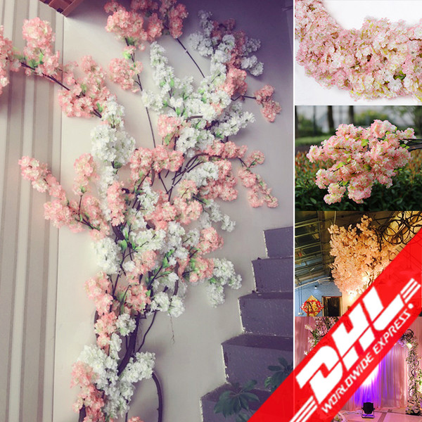 best selling Artificial cherry blossom multi-color optional wedding decoration sakura 39 Inch 100 cm long free shipping DHL