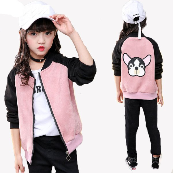 Cool Baseball Jacket 2018 Fashion Girls Long Sleeve Cartoon Dog Uniform Outerwear jacket Children Clothing Jacket