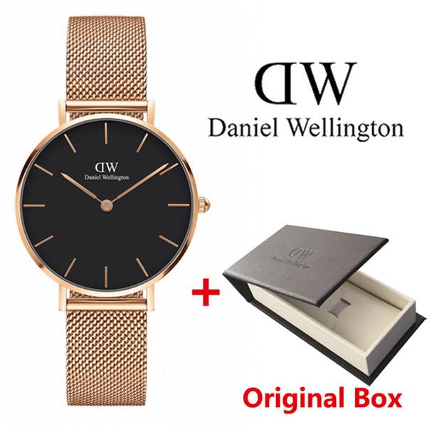 2018 Top Daniel mulheres homens moda de Wellington dw Amantes mulheres malha de aço relógios de ouro mens montre femme relojes