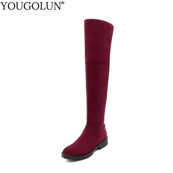 YOUGOLUN Kadınlar Uyluk Yüksek Çizmeler Sonbahar Bayan Seksi Zip Yuvarlak ayak Diz Üzerinde Ayakkabı Kadın Gri Kırmızı Siyah Düşük Kare Topuklu # B050