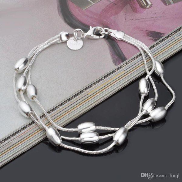 New Hot 925 sterling silver chain bracelet 7MM X19CM cool street style fashion jewelry Christmas gifts low price free shipping