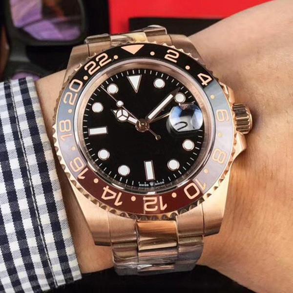 Newluxury Rose gold GMT2 Listed V3 Version Batman mens watch automatic movement Ceramic Rotating Bezel sapphire glass steel strap wristwatch