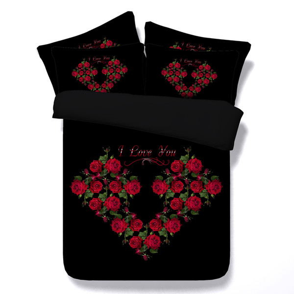 rose heart bedding sets black bed linens queen twin full king size duvet quilt cover 3/4 pieces bed spreads 500tc Valentine Gift