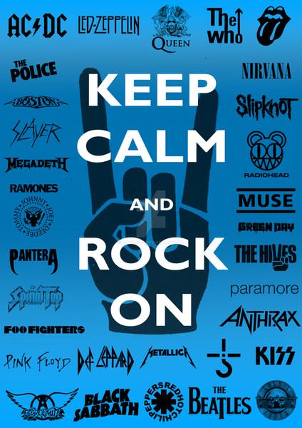 gardez le calme et rockez sur l'affiche Drapeau Musique Bannière 150 CM * 90 CM 3 * 5FT Polyester Logo Personnalisé Bannière