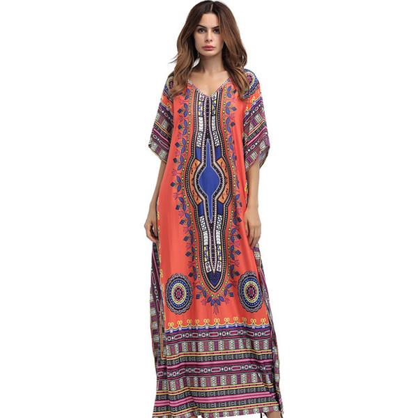 New summer autumn big size Womens clothing Floor-Length Maxi Dress O-Neck Printed Ethnic Robe Vestidos Long Indian dashiki dress