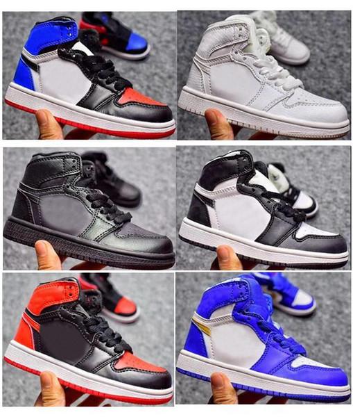 Çocuklar 1s Basketbol Ayakkabıları Çocuk Oğlan Kız 1 Top 3 Bred Siyah Kırmızı Beyaz Sneakers Çocuklar Doğum Günü Hediyesi