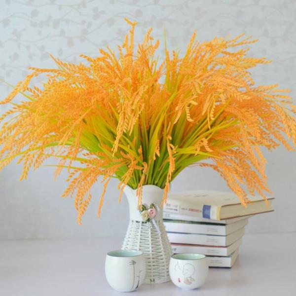 Artificial Plants Rice Plant Faux Greenery Golden Color Rice Plant Leaf Greenery Plastic Rice Seven Stems per piece