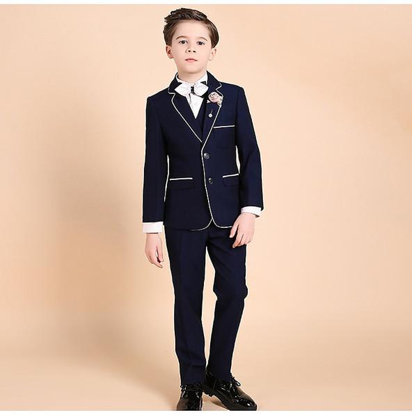 Art- und Weiseklage des schwarzen hübschen Hemdkragenkragens des Anzuges der Einzelknopfklage dreiteilige Klage (Jacke + pants + vest) Hochzeitsblumenmädchenkleid
