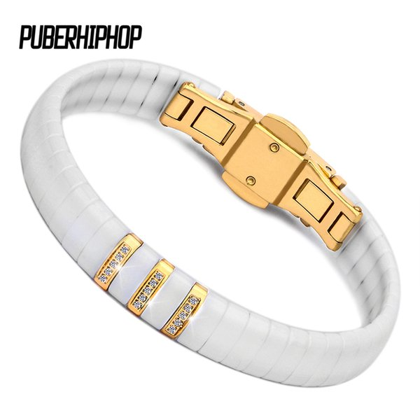 Hot Black White Ceramic Bracelet Men/Woman 316L Stainless Steel Crystal Rhinestone Gold Bracelet Hand Chain Jewelry Watch Clasp Y1891908