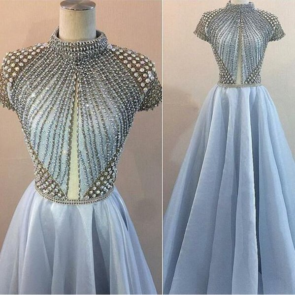 Evening dress Yousef aijasmi Long dress Short Sleeve High Collar Crystal Beaded Sweep Train Ball Gown Blue Zuhair murad Kim kardashian