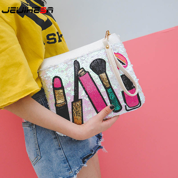 Fashion Sequin Envelope Bag Clutch Bag Women Leather Handbags Female Luxury Handbags Women Bags Designer Shoulder Messenger