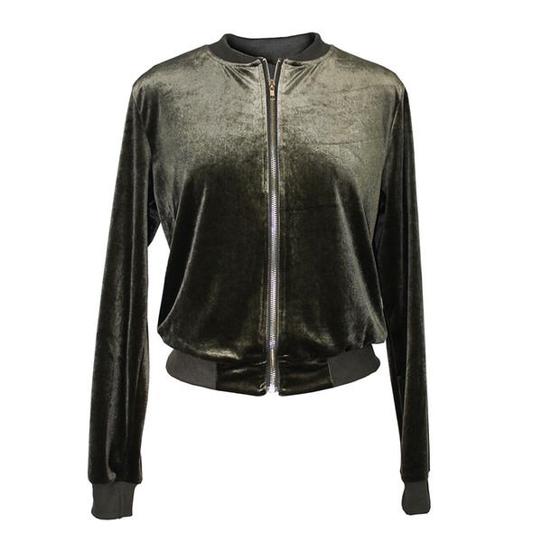 2018 новая женская куртка Европа и Америка осень и зима сплошной цвет мода молния стенд воротник шелковый бархат куртка