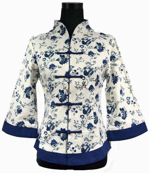 Chaqueta de lino de la chaqueta de las mujeres de la vendimia azul de alta costura de la flor Traje chino de la tradición Tang traje de gran tamaño S M L XL XXL XXXL 4XL 5XL 2218