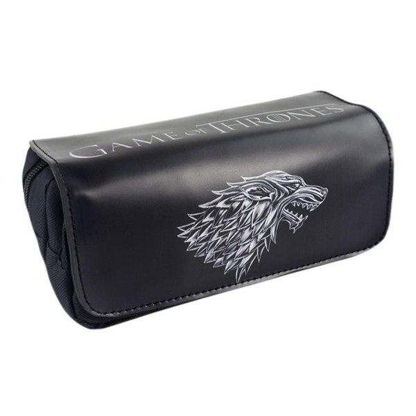 Wholesale- TV Series Game of Thrones: The Badge of House Stark Pencil Case Bag Student Stationery Pouch/Cosmetic/Travel Makeup/Storage Bag