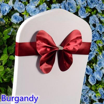 Burgandy colour chair sash wedding mini style butterfly bow tie lycra band stretch bow tie ribbon for chair covers on sale