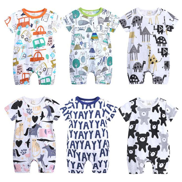 best selling Baby Rompers Summer Style Animal Cotton Jumpsuit Baby Boy Girl Clothing Newborn Infant Short Sleeve Clothes Romper