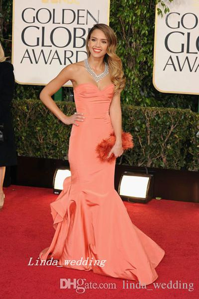 Jessica Alba Golden Globes 2013 Red Carpet Evening Dress Coral Colour Mermaid Taffeta Formal Party Prom Gown