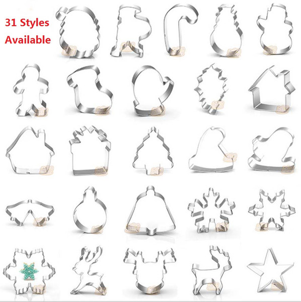 31 Styles 3D DIY stainless steel cookie mould Double sugar cake pan Christmas theme metal cake cutters mould bake tool