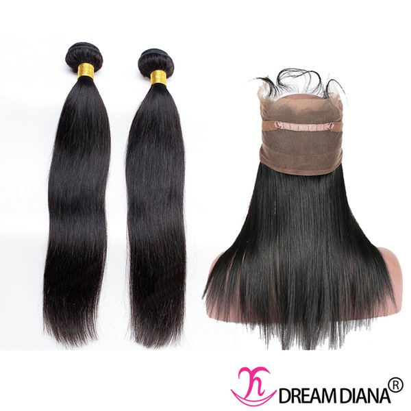 Straight Hair 360 Lace Frontal Closure with Bundles Pre Plucked Natural Hairline Brazilian Indian Malaysian Peruvian Human Hair Weave