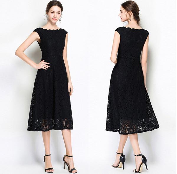 2019 robes en dentelle sans manches nouvelle section noire longue vague collier de mode un mot jupe dentelle blanche robes de soirée formelles HY384