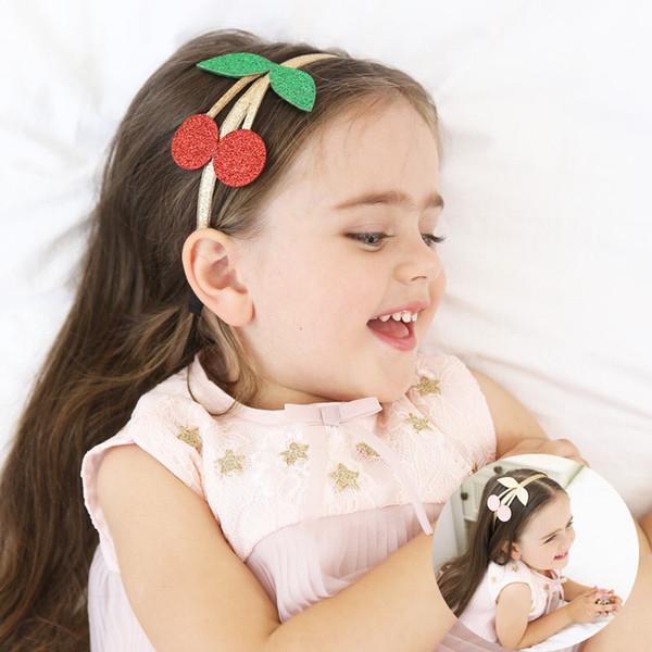 Lovely Gelite Glitter Cherry Kids Hair Hoop Boutique Детские ленты для волос Принцесса Головные уборы Девушки Аксессуары для волос Детские повязки на голову 70651