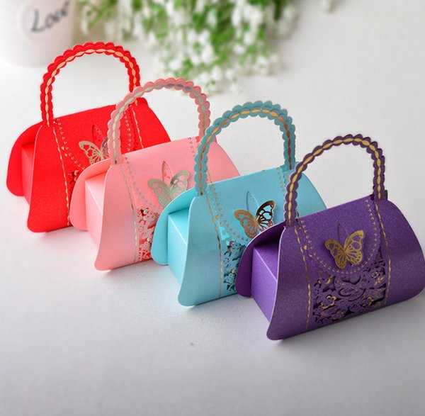 30pcs Pretty Married Wedding Favor Box Gift Boxes Candy Party Paper Bags butterfly love Wedding Party handbag shape box