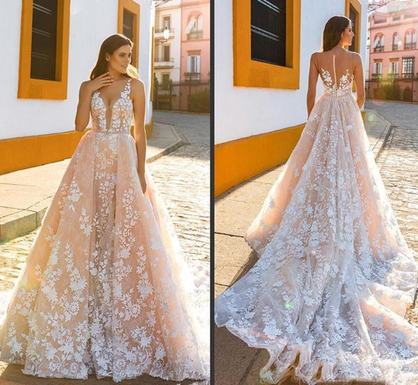 Sexy V Neck Wedding Dresses for Brides Illusion Bodice Lace Applique Bridal Gown Vintage Country A Line Wedding Bridal Dresses Custom Made