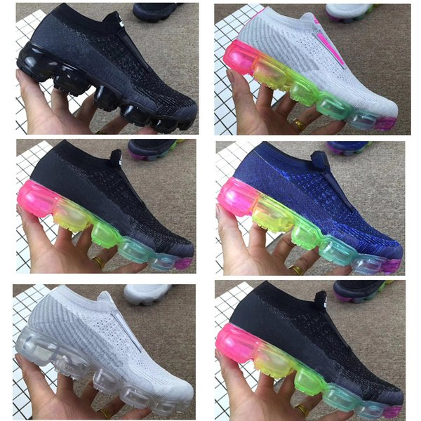 Laceless vapor 2018 Platinum Kids running shoes Grey white Rainbow Infant & Children Sports shoes toddler trainers boy & girl sneakers