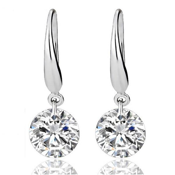 Sterling Silver Earrings for Women Gemstone Big Long Dangle Geometric Drop Earrings Swarovski Cubic Zirconia Statement Crystal Earrings