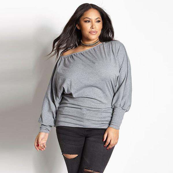 Katı Moda T Gömlek Kadın Artı Boyutu Tee Gömlek Femme Casual Tam Kollu Uzun Camisetas Mujer