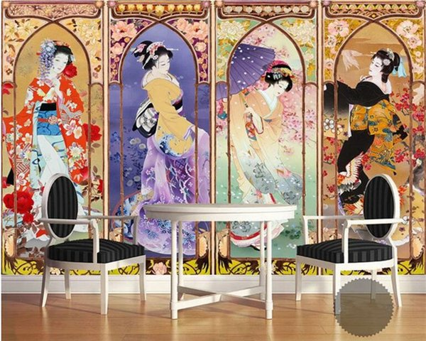 Silk cloth wall paper beautiful Japanese beauty oil painting four-screen TV background papel de parede 3d wallpaper