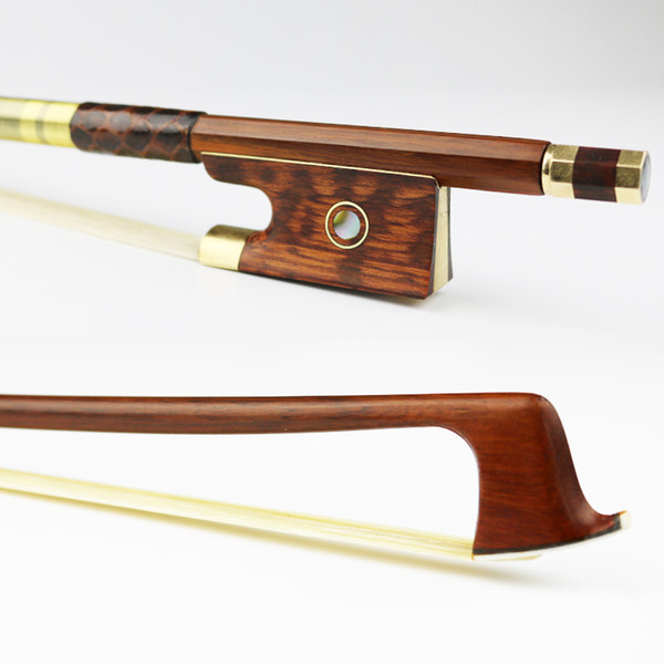 NEW 4/4 Size Pernambuco Violin Bow Snakewood Frog Natural Mongolian Horse hair Violin Parts Accessories Free Shipping