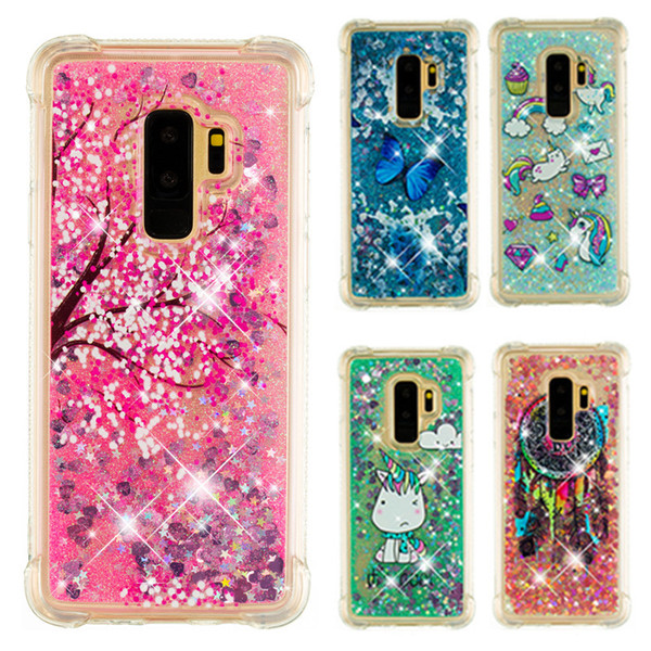 Cartoon Printed Bling Liquid Glitter Case for iPhone XR XS Max 7 8 Plus Anti-drop Soft TPU Cover for iPod Touch 6 5