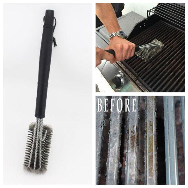 45cm Length Black Grill Brush BBQ Barbecue Cleaner 3 Brushes in 1 Head Durable Cooking BBQ Tools CCA9265 50pcs