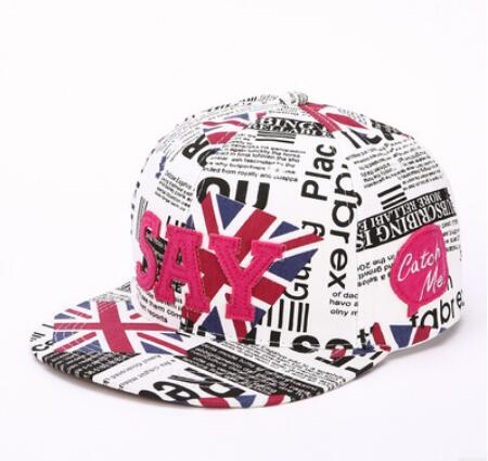 New couple hip hop hat personality English newspaper letter baseball caps