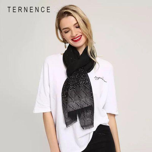 TERNENCE New Desgin Cotton Silvery Dot Women Autumn Winter Warm Long Scarf Shawl Wrap